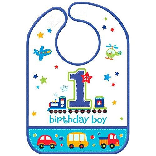 Amscan All Aboard Boy 1st Birthday Vinyl Baby Bib, 13 x 10, Blue/White by Amscan (Baby Boot Bib)