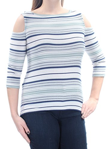 Free People Womens Rory Ribbed Knit Striped Pullover Top Ivory L -