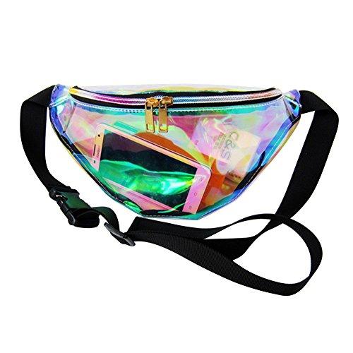 Zicac Transparent Bauchtasche Kunstleder Reflektierende Waist Bag Taille Tasche