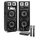 Karaoke-Anlage STAR-28A PA Boxen Funk Mikrofon Set (60W RMS / 120W max, 2 Etagen-Lautsprecher, 2 Funk-Handmikrofone, MP3-Bediensektion mit AUX, USB-und microSD-Slot, 80-100m Reichweite) schwarz