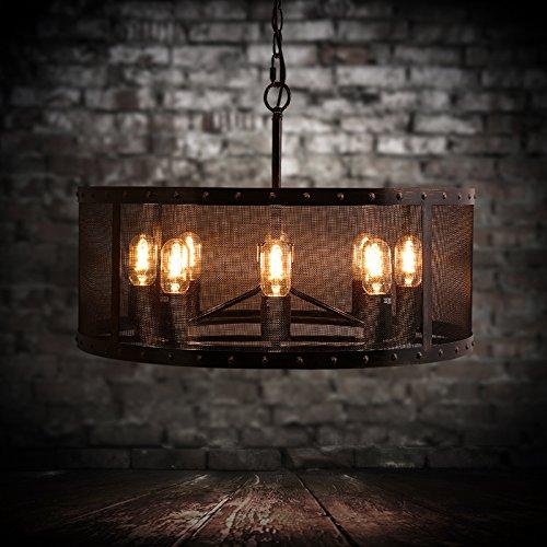SSBY American rurali industriali vintage rotondo di metallo cappa di maglia 8 lampada barra di ferro, pendente 160*250mm