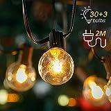 Kohree Lichterkette Glühbirnen Außen G40 33er Birnen Beleuchtung Dekoration Geburtstag Weihnachten Hochzeit für Innen und Draußen mit Ersatzbirnen 35FT Warmweiß, Energieklasse A+