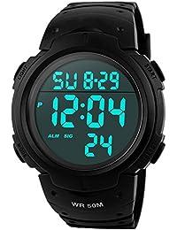 Orologi da uomo sportivo digitale - 50 m impermeabile sport orologio con cronometro, nero Big Face corsa orologio da polso con retroilluminazione a LED per uomo di Yesure
