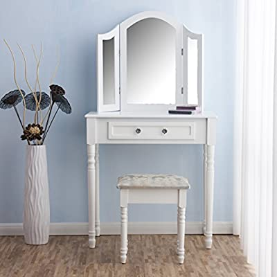 CherryTree Furniture Dressing Table 3 Way Mirrors Triple Mirror Makeup Dresser Set with Stool - low-cost UK light store.