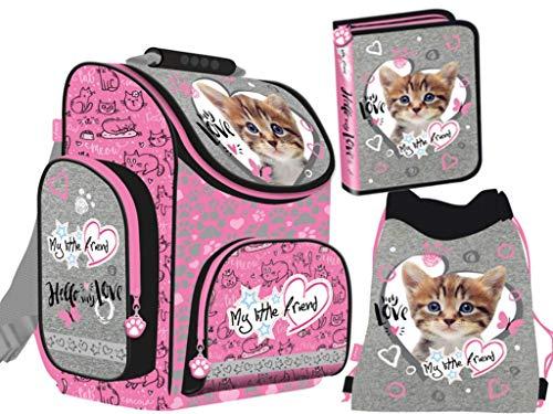 3-teiliges Schulranzenset My Little Friend Ranzen Schulranzen mit Federtasche, Turnbeutel für Kinder Katze - 3 Schulranzen