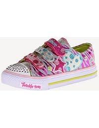 Skechers Zapatos Deportivos para Niña Diseño de Lunares, Puntera con logo 'Twinkle Toes', Cierres de Velcro - Moda Casual con Detalles de Colores Vivos