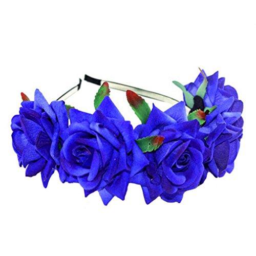 Damen Mädchen Rose Blume Haarreif Blumenstirnband Garland Festival Hochzeit Braut Brautjungfer Haarband Kopfband Kranz (Marineblau) (Marineblau Frühjahr)