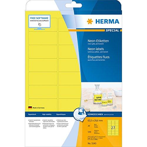 Preisvergleich Produktbild Herma 5140 Neonetiketten signalstark (63,5 x 29,6 mm auf DIN A4 Papier matt) 540 Stück, neon-gelb, selbstklebend, PC-bedruckbar