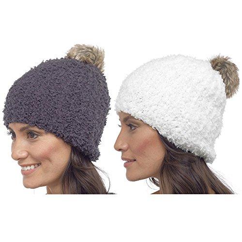 Gorro de lana cálido de invierno con pompón para mujer Blanco
