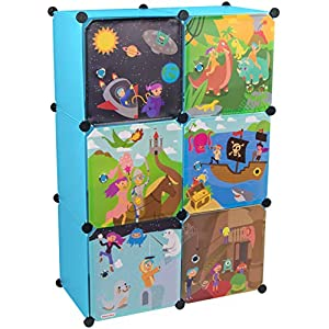 KEKSKRONE Großer Kinderschrank Bunte Motiv-Türen – DIY Stecksystem – 6 Module je 37 x 37 x 37 cm, Blau | Kinderzimmer-Schrank | Kinderkleiderschrank | Baby-Regal | Spielzeugkommode