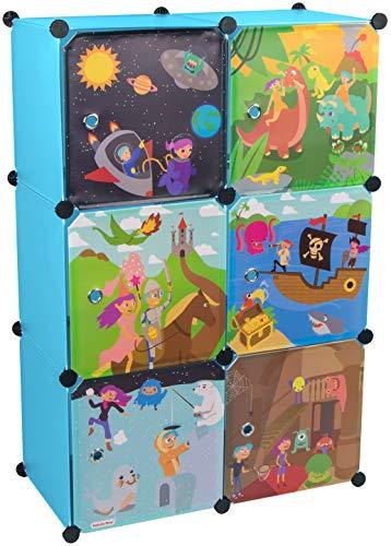 KEKSKRONE Großer Kinderschrank Bunte Motiv-Türen - DIY Stecksystem - 6 Module je 37 x 37 x 37 cm, Blau   Kinderzimmer-Schrank   Kinderkleiderschrank   Baby-Regal   Spielzeugkommode