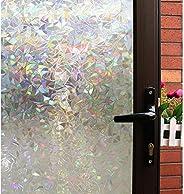 Mikomer 3D Decorative Window Film,Clear Glass Film,Rainbow Effect Door Window Tint,Static Cling Heat Control A