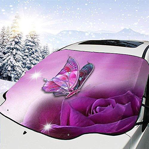 MaMartha Windshield Snow Cover Viola Rosa Farfalla Anteriore Auto Parabrezza Copertura Neve Copertura Pieghevole UV finestrino Anteriore Adatto per Auto,SUV e Camion,147 * 118 cm