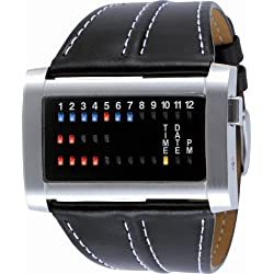 The One Ibiza Ride Watch IRH102RB1 Black Leather Strap Red Blue and Yellow LED's