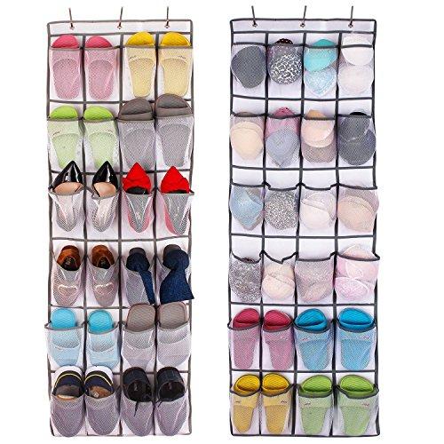 Aedo Rangement des Chaussures à Suspendre Derrière de Porte 24 Poches épargne d'espace Organisateur Collection de Chaussures Organisateur/Stockage de Chaussures(Blanc, 1 Piece)