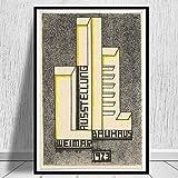 MISSOUL Affiche et Empreintes Bauhaus Exposition Couverture Image d'art Mural Toile Peinture Cadeau sans Cadre 40 * 60 cm