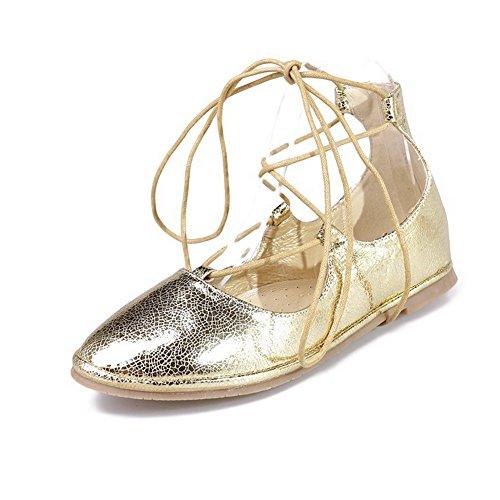 Senhoras Allhqfashion Misturar-puros Materiais Laço Em Torno Ponta Sapatos Sem Salto Dourado Plana