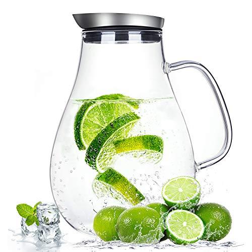 Suteas 2.0 Liter Glaskrug mit Deckel, Wasserkaraffe Krug für heißes/Kaltes Wasser, Eistee und Saftgetränk - Tropf Herd