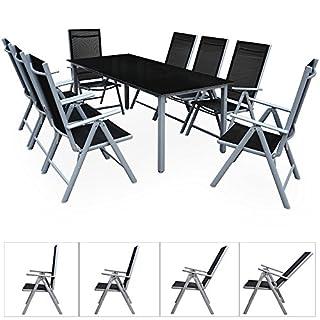 Deuba Sitzgruppe Bern 8+1 | Aluminium | 7-Fach verstellbare Hochlehner | Tisch mit Sicherheitsglas | Silber - Garten Set