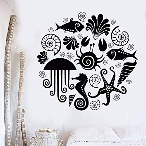 WWYJN Vinyl Wall Decal Sea Animals Marine Style Wall Sticker Ocean Design Bathroom Wall Stickers Home Bathroom Decoration  42x41cm