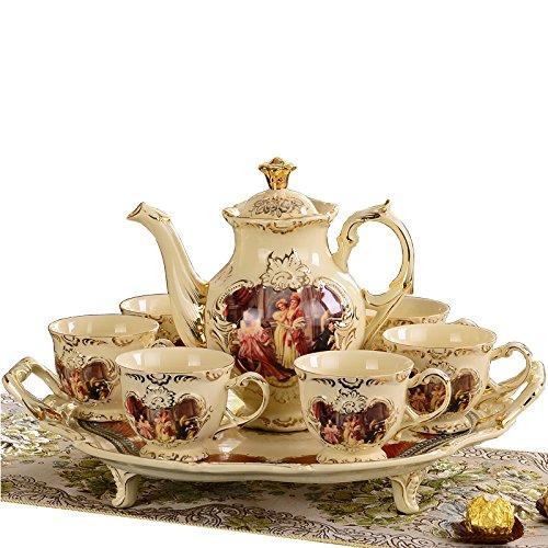 CUPWENH Europäische Palace Teeservice, Gericht, Keramik - Gürtel, Tray, Teekanne, Tee Tasse Kaffee, Tee, Englisch,Tea Service, Coffee Set Arabische Gerichte-set