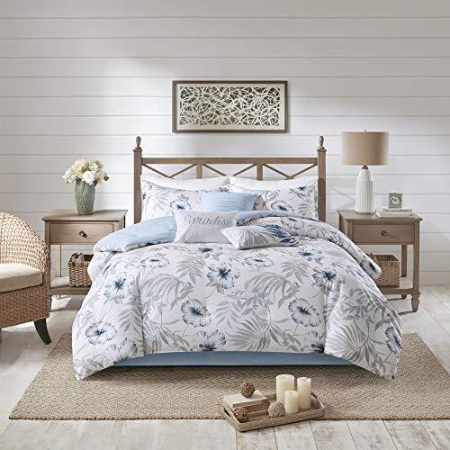 Madison Park Milo Bettdecken-Set, Baumwolle, Bedruckt, Cal King Size, Blau/Weiß -