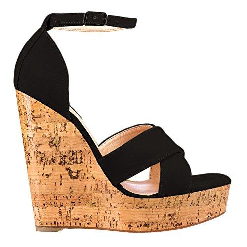 MERUMOTE Damen Y-186 Holz Plattform High Heels Ankle Strap Cuff Plateau Hoher Keil-Sandalen Schwarz