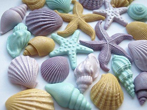 Essbare Muscheln und Meerestiere für Meerjungfrauen - Cupcake-Aufsätze, Zucker-Dekoration, Motiv