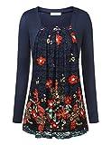 BAISHENGGT Femme T-shirt 2 en 1 Faux Twin-set Haut Top Manches longues Bleu fonce M...