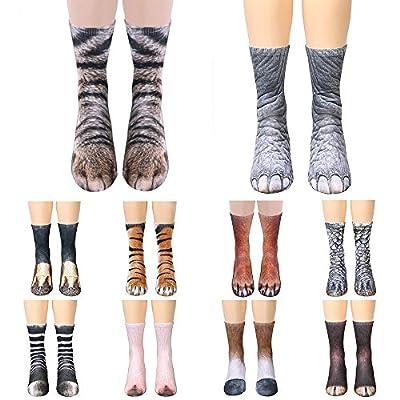 HUHU833 Adult Unisex Animal Paw Crew Socks