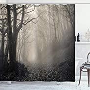 Gothic Decor Collection Path on the Gothic Forest Trees Foggy Mysterious Nature Monochrome Art Polyester Fabri