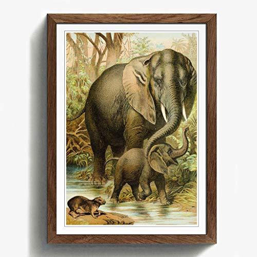 BIG Box Art Vintage afrikanischen Elefanten & baumschliefer Schwarz Gerahmter Druck, Mehrfarbig, 24,5x 18/62x 45cm/a2-p, Holz, walnuss, 24.5 x 18-Inch/62 x 45 cm/A2 - Afrikanische Walnuss