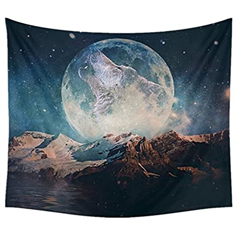 "Wolf and Moon Tapestry Starry Sky Tapestry Werewolf Snow Mountain Wall Decor Home Decor Nature Wall Hanging Indian Tapestries for Bedroom, Dorm, Living Room, 51""x59"" by"
