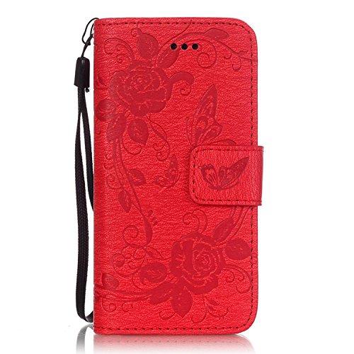 iPhone Case Cover IPhone 5 5S SE 6 6S Plus Boîtier, Embossing papillon PU Housse de protection en cuir Butterfly Flower Flip Stand Housse de sacoche pour IPhone 5 5S SE 6 6S Plus ( Color : Brown , Siz rouge