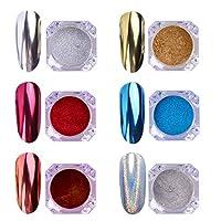 AIMEILI 6 Boxes Nail Art Mirror Powder Set Chrome Nail Glitter Dust Shinning Laser Powder Chameleon Holographic Nail Powder Manicure Kit