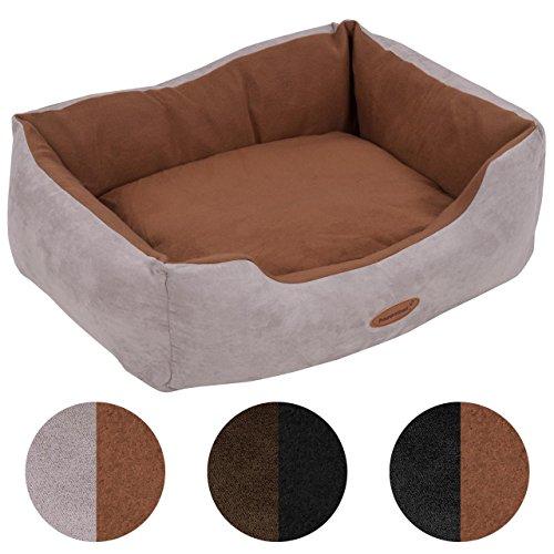 Hundebett Hundekorb Wendekissen Hunde-Matte-Kissen-Sofa stabil rutschfest waschbar robust Bezug abnehmbar Komfort Tier-Hunde-Katzen-Bett Grau-Braun