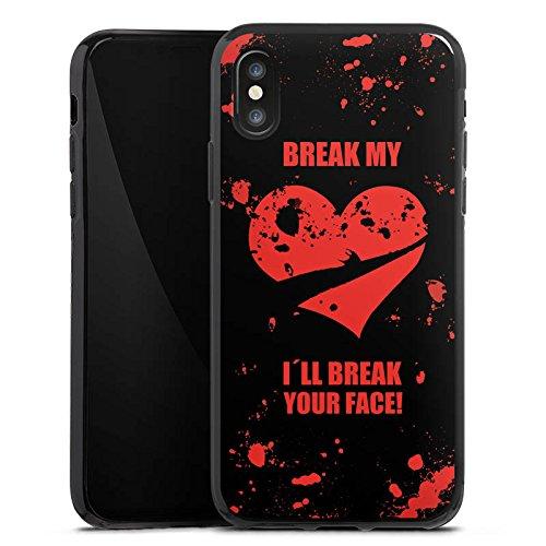 Apple iPhone X Silikon Hülle Case Schutzhülle Herz Heartbroken Liebeskummer Silikon Case schwarz