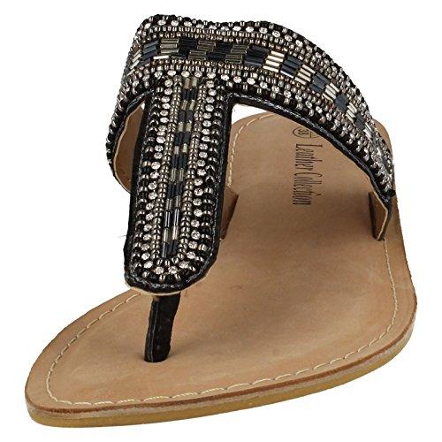 Spot en cuir pour Collection de perles Post-F0895 Sandales pour orteil Noir