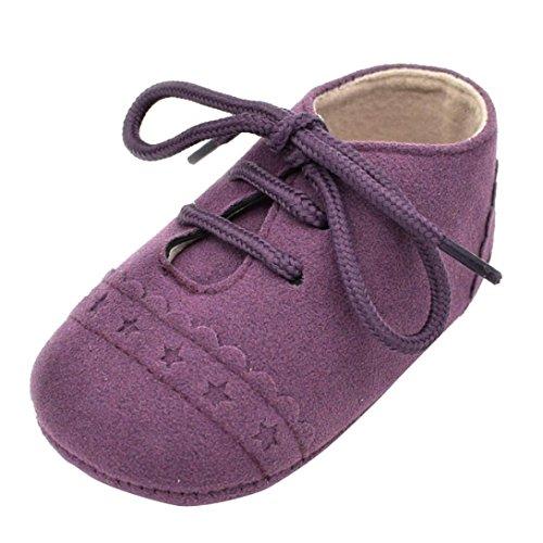 Zapatos De Bebé, Amlaiworld primeros pasos para niño niña zapatillas de bebé antideslizante de encaje hasta zapatos 0-18 Mes (Tamaño:6-12Mes, Púrpura)