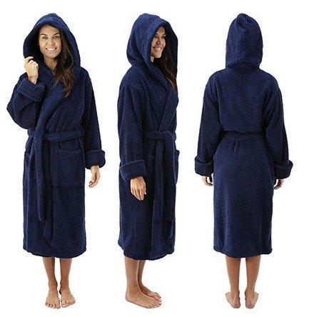 Comfy Robes Women's Deluxe 20 oz. Turkish Cotton Hooded Bathrobe, L/XL (OSFM) Tall Navy