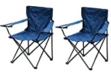 Parkland Set of 2 Folding Camping Fishing Chairs with Cup Holder and Carry Bag (Blue)