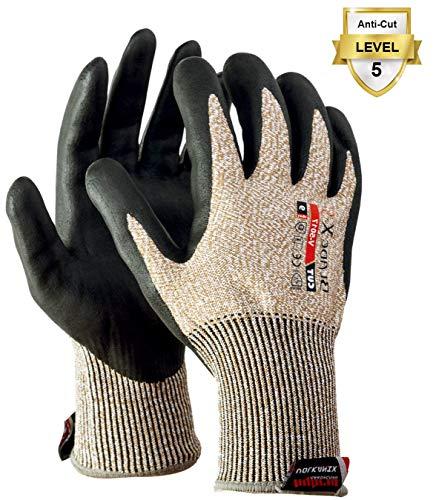 LESOLEIL Handschuhe Extra Starker Stufe 5 Schutz EN-388 Zertifiziert Ölbeständige Arbeitshandschuhe KARBONHEX XL