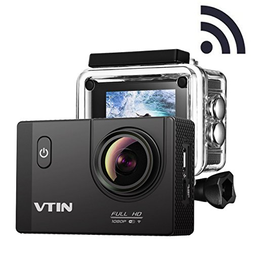 VicTsing WIFI Action Camera 2.0 Inch Full HD Sport Camera 12MP 1080P Sport Action Camera with Waterproof 170°Wide Angle Lens with Dual 1050mAh Batteries and Accessories Kits For Bike Motorcycle Surfing Diving Swimming Skiing etc - Black