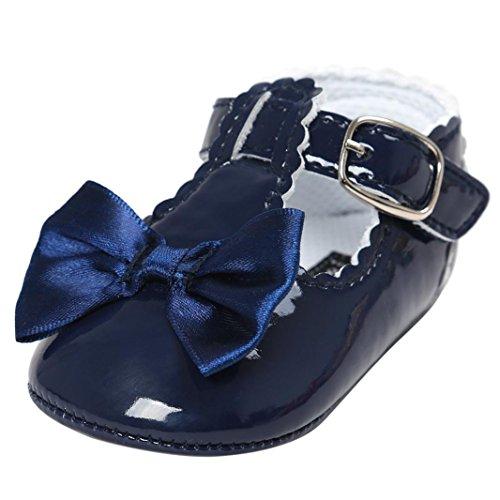 FNKDOR Baby Mädchen Bowknot Prinzessin Weiche Sohle Schuhe Kleinkind Turnschuhe Freizeitschuhe(06-12 Monate,Blau)