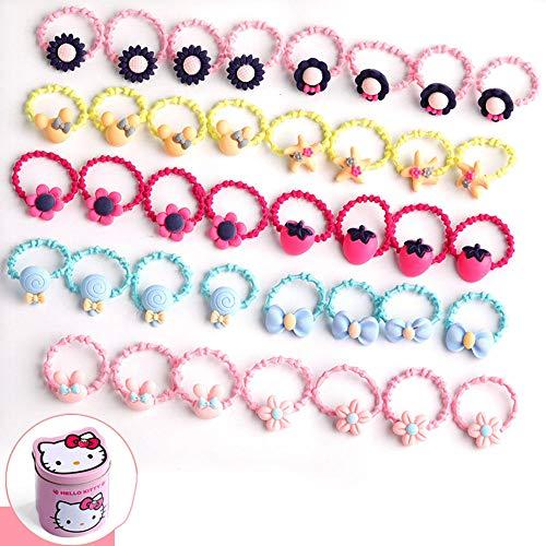 WYKAI haarspangen set geschenkbox - Mädchen Haarspangen 40tlg Süßes Haarschleife Elastische Krawatten Geschenkset - Schleife Haargummiband - Multi-Style Haarnadel für kleine Mädchen Baby -E-40 tlg