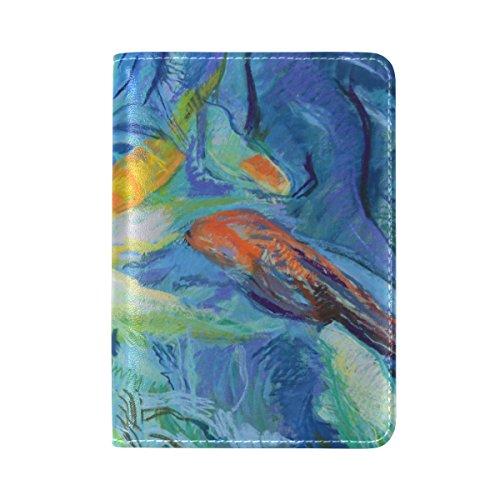 Coosun Aquarell Fische Malerei Leder Passhülle Cover für Travel One Pocket