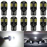 Paquet de 10 T10 194 168 2825 W5W Blanc Canbus Sans Erreur 5730 LED Ampoules 12V, avec Remplacement pour Lampes pour Plaque D'immatriculation, Back Up Eclairage Inversé, Feux Arrière et Stop