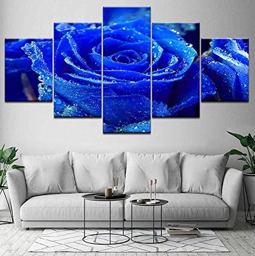 Kent Bailey Blue Rose Blume 5 stück leinwand Wallpaper Moderne Plakat modulare Art malerei für Wohnzimmer - Einrichtung