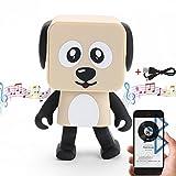 HanDingSM Bluetooth Lautsprecher,Drahtloser Bluetooth Tanz-Roboter-Hundelautsprecher,Stereo Bass Sound Bluetooth Musik Lautsprecher (Beige)