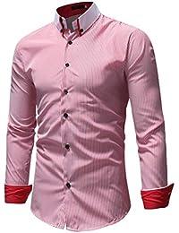 Dooxi Herren Business Freizeit Langarm Hemd Tops Mode Frühling Herbst Slim  Fit Streifen Oberteile Shirts Blouse 8f68771e7e